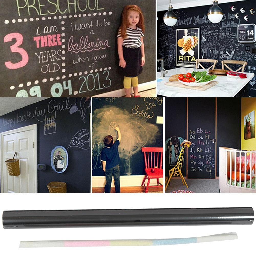 45 X 200cm Removable Waterproof Reusable Self-adhesive Blackboard Chalkboard Wall Decal Sticker With 5 Chalks
