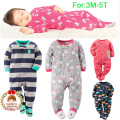 Children Boy Girl Fleece Footies Pajamas Newborn Baby Microfleece 1Piece Nightclothes Pyj 3M-3T Winter Coverall Nightgrown