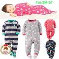 Children Boy Girl Fleece Footies Pajamas Newborn Baby Microfleece 1Piece Nightclothes Pyj 3M-3T Winter Coverall Nightgrown