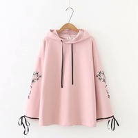 Plus size Embroidered lace up hoodies women white & dark blue & black & pink sweatshirt 2018 new spring autumn ladies pullovers