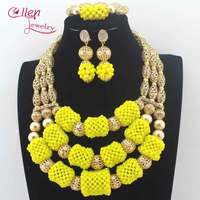 Fabulous Yellow Crystal Balls Wedding Jewelry Set Gold Bridal Indian Jewellery Necklace Set New 2017 Free