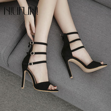 цены Women Sandals High Heels Sexy Buckle Solid Color Shoes Open Toe Ankle Strap Block Heels Sandals Rome Style Hot Sale Zipper Shoes