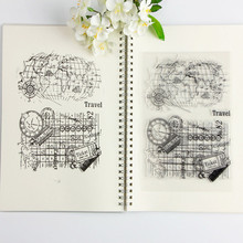 14*18cm Stamp Transparent Vintage World Travel Map Clear Stamps/seal Craft for Scrapbooking Album Photo Decoration