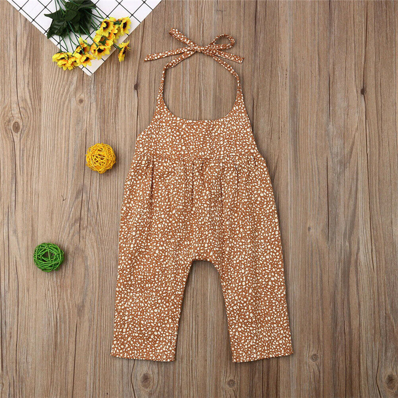2019 Summer Newborn Infant Baby Girl Cute Solid Cotton Backless   Romper   Floral Dot Jumpsuit