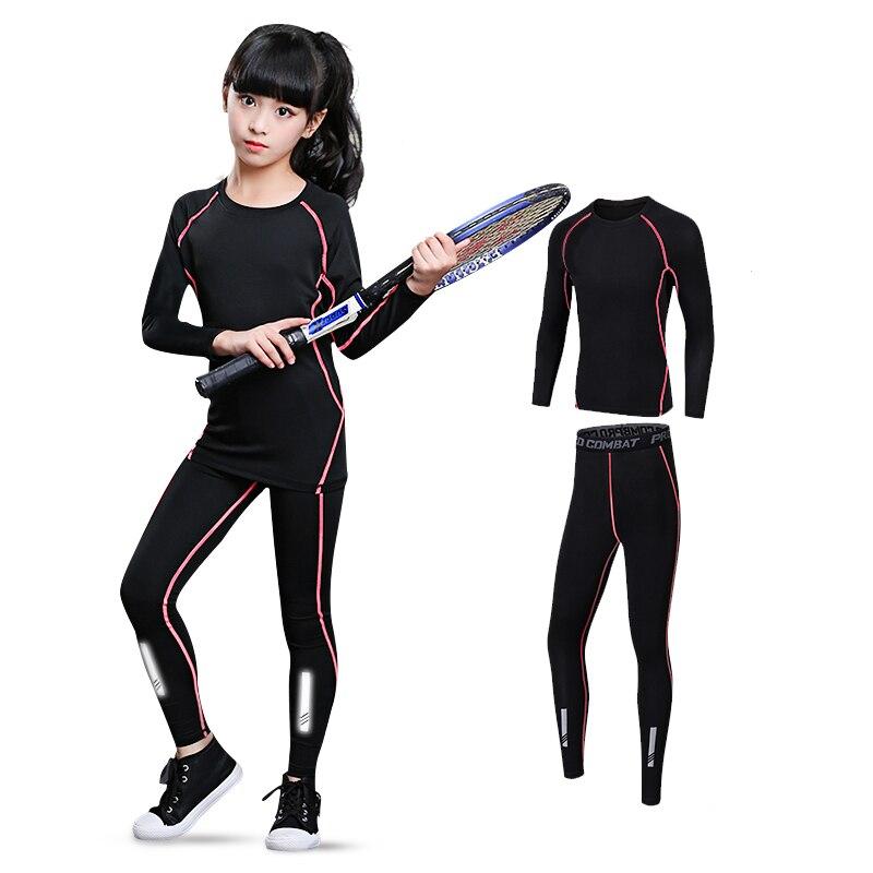 Tight Sportswear Rashguard Teenagers Children Running MMA Girls Pants Compression-Jersey