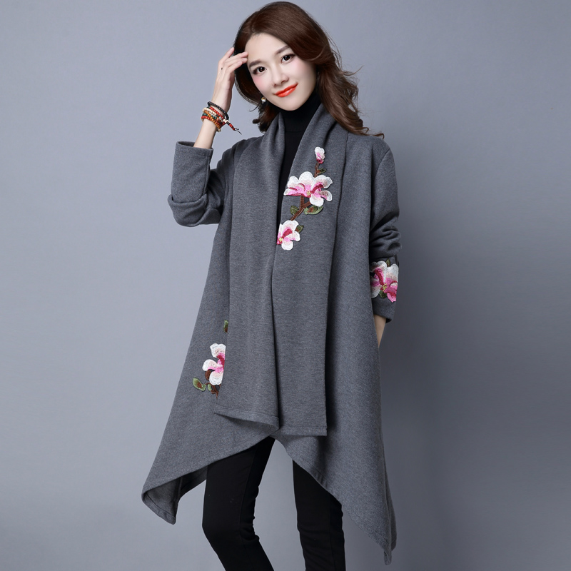 Spring autumn Women   Trench   Coat Casual Cardigan Loose Outerwear Fashion Plus Size Windbreaker Women Knee Length Office   Trench
