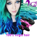 7A Ombre Hair Extensions Brazilian Body Wave 3 Bundles 1b/Blue/Green Brazilian Virgin Hair Ombre Brazilian Hair Remy Human Hair
