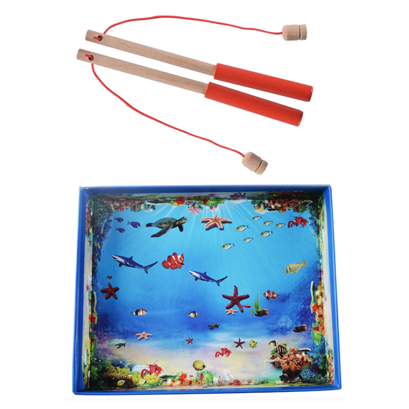 32pcs Magnetic Fishing Educational Fishing Game Logwood Baby Toys Wooden Toys Child Birthday Christmas Gifts