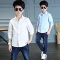 new 2017 spring autumn summer white blue children school shirts for boys clothing baby teenage boy kids long sleeve shirt tops