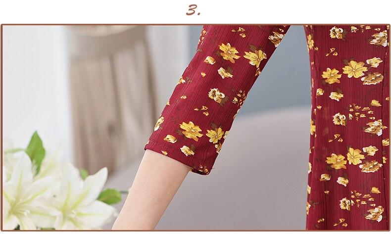 Women Flower Chiffon Blouses Three Quarter Sleeve Crepe Top Woman Peplum Tunic Red Green Print Shirt Plus Size Blouse Lady Shirt Spring (18)