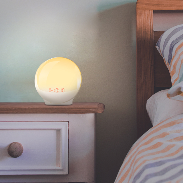 Alarm Clock Digital Light Nature Night Lamp Clock Sunrise FM Radios