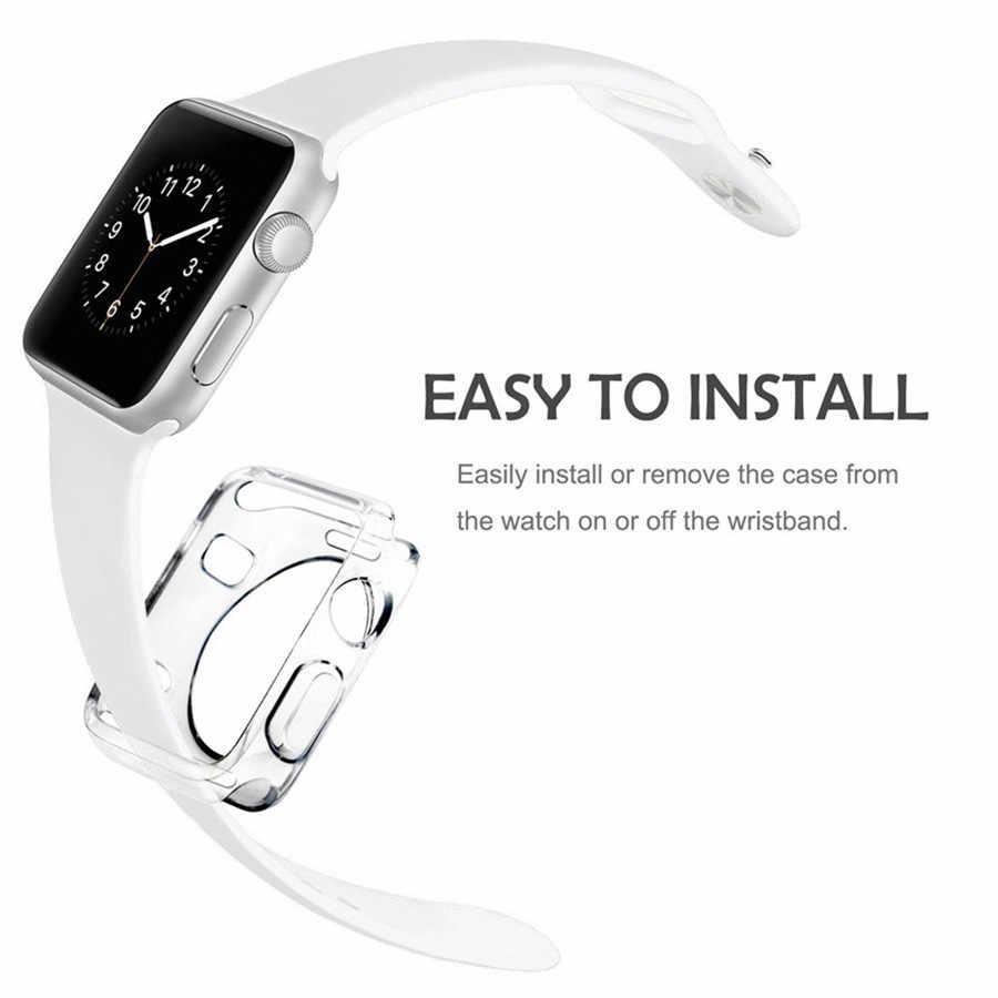 CIAXY רך סביב כל דק ברור מסגרת סיליקון מלא מקרה עבור apple watch להקת 44mm 40mm 42mm/38mm iwatch סדרת 4 3 2 1