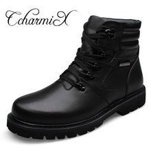 CcharmiX Big Size Men Leather Boots Winter Warm Men Motorcycle Boots 100% Genuine Leather Men Ankle Boots Male Waterproof Boots