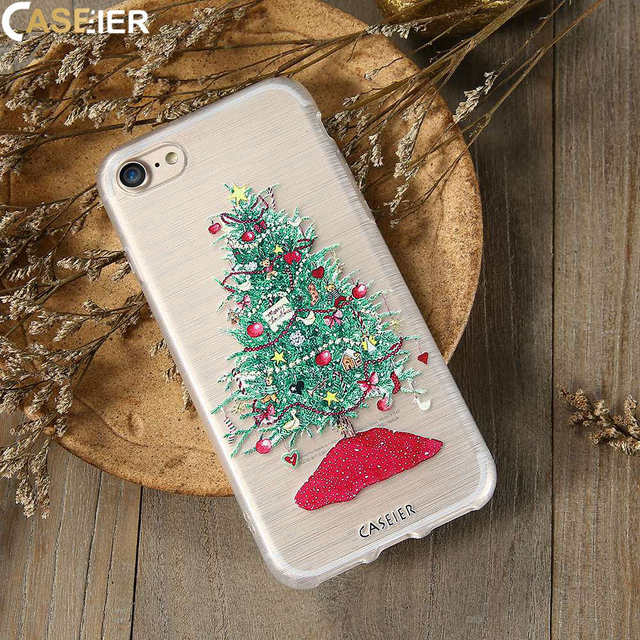 caseier merry christmas phone case for iphone 6 6s plus cases soft silicone tpu 3d relief