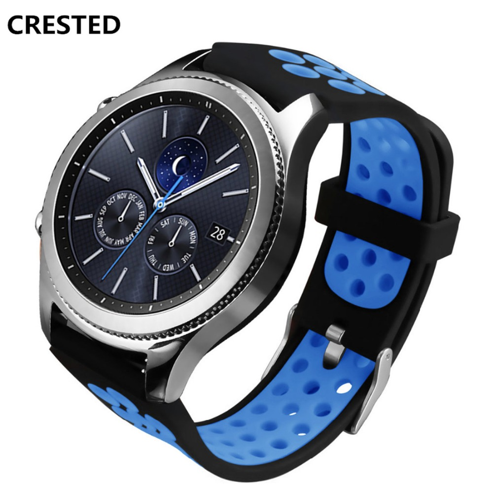 CRESTED silicone watch band For samsung gear s3 Classic/Frontier 22mm replacement rubber strap sport wristband Bracelet belt silicone sport watchband for gear s3 classic frontier 22mm strap for samsung galaxy watch 46mm band replacement strap bracelet