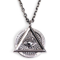 The Devil Eyes Hexagon Masonic Pendant 925 Sterling Silver Necklace For Men Skull Sided High Quality