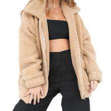 Faux Fur Coat Woman Winter Thick Warm Teddy Bear Bomber Jacket Fur Long Sleeve Plush Overcoat Oversize Jackets Plus Size