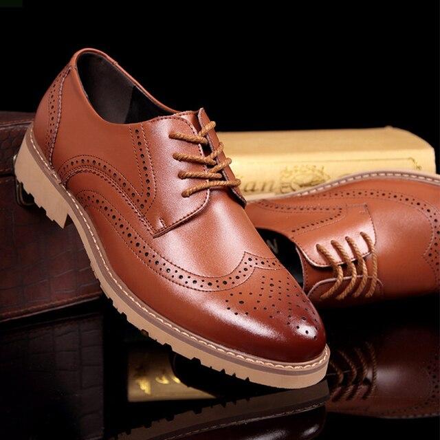 New Fashion men's Casual Shoes Men Wedding Dress Shoes Round Toe Flat Business British Lace-up Men's shoes