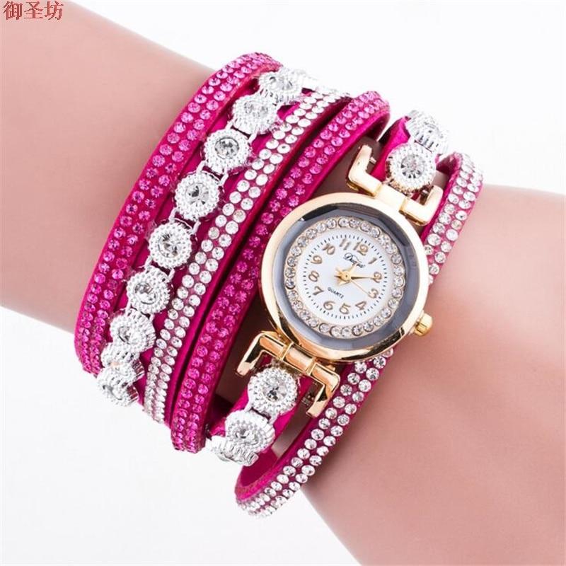 цена  Winding Bracelet Red Leather Strap Digital Luxury Ladies Quartz Watch Relojes Mujer 2017 Women Watches Montre Femme Saat B257  онлайн в 2017 году