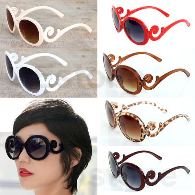 239f267e80b 2015 Brand Designer Inspired Round Fashion Sunglasses Women Baroque Swirl Arms  Glasses Women Vintage Shades
