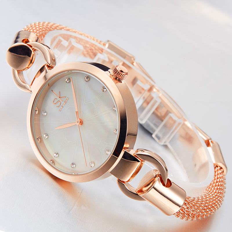 Shengke New Women Fashion Wrist Watch Diamond Golden Bracelet Watches Women Brand Ladies Jewelry Quartz Clock Reloj Mujer 2017 new arrival watch women quartz watch gold clock women leatch watches viuidueture brand fashion ladies dress watches reloj mujer