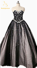 2017 New Sexy Gorgeous Black Sweetheart Ball Gowns Quinceanera Dresses Sparkly Beaded Appliques Vestidos De 15 Anos QA1153