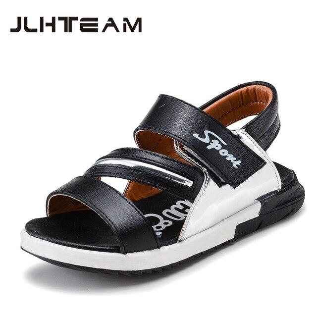 Новые Летние дети пляжная обувь из натуральной кожи сандалии мальчиков мягкой дышащей обуви anti-slip модные открытый чистильщиком обуви