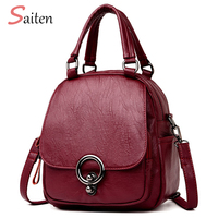 Saiten High Quality Multifunction Backpack Mochil 2018 New PU Leather Women Backpack Casual School Backpack For Teenager Girl