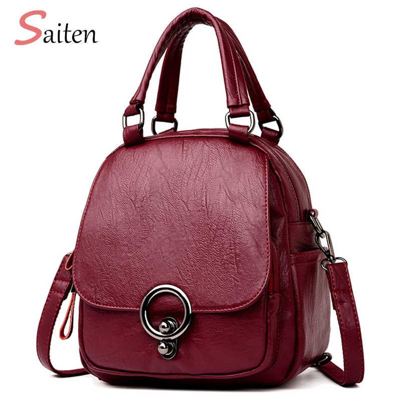 Saiten высококачественный Многофункциональный рюкзак Mochil 2018 Новый женский рюкзак из искусственной кожи Повседневный школьный рюкзак для девочки-подростка