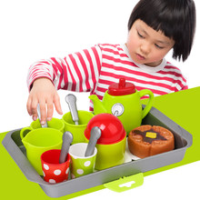 2018 Kitchen Toys Tableware Mini Cute Coffee Tea Set Pretend Play DIY Kitchen Toys for Children Christmas Gift(China)
