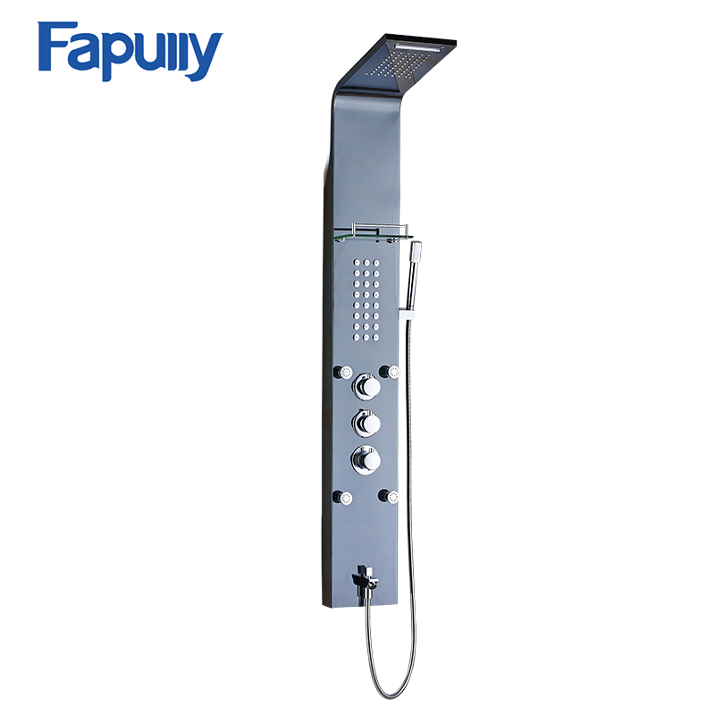 Fapully Stainless Steel Rain Waterfall Shower Panel Wall Mounted Thermostatic Faucet with Jets Handshower Shower Set Column