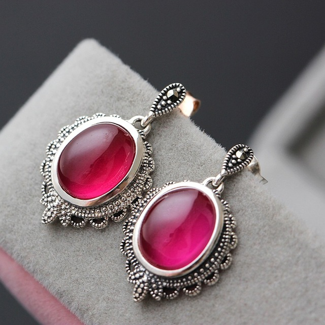 Pavilion silver wholesale 925 Sterling Silver Earrings with red just Yutai silver earrings jewelry lady pure Tremella