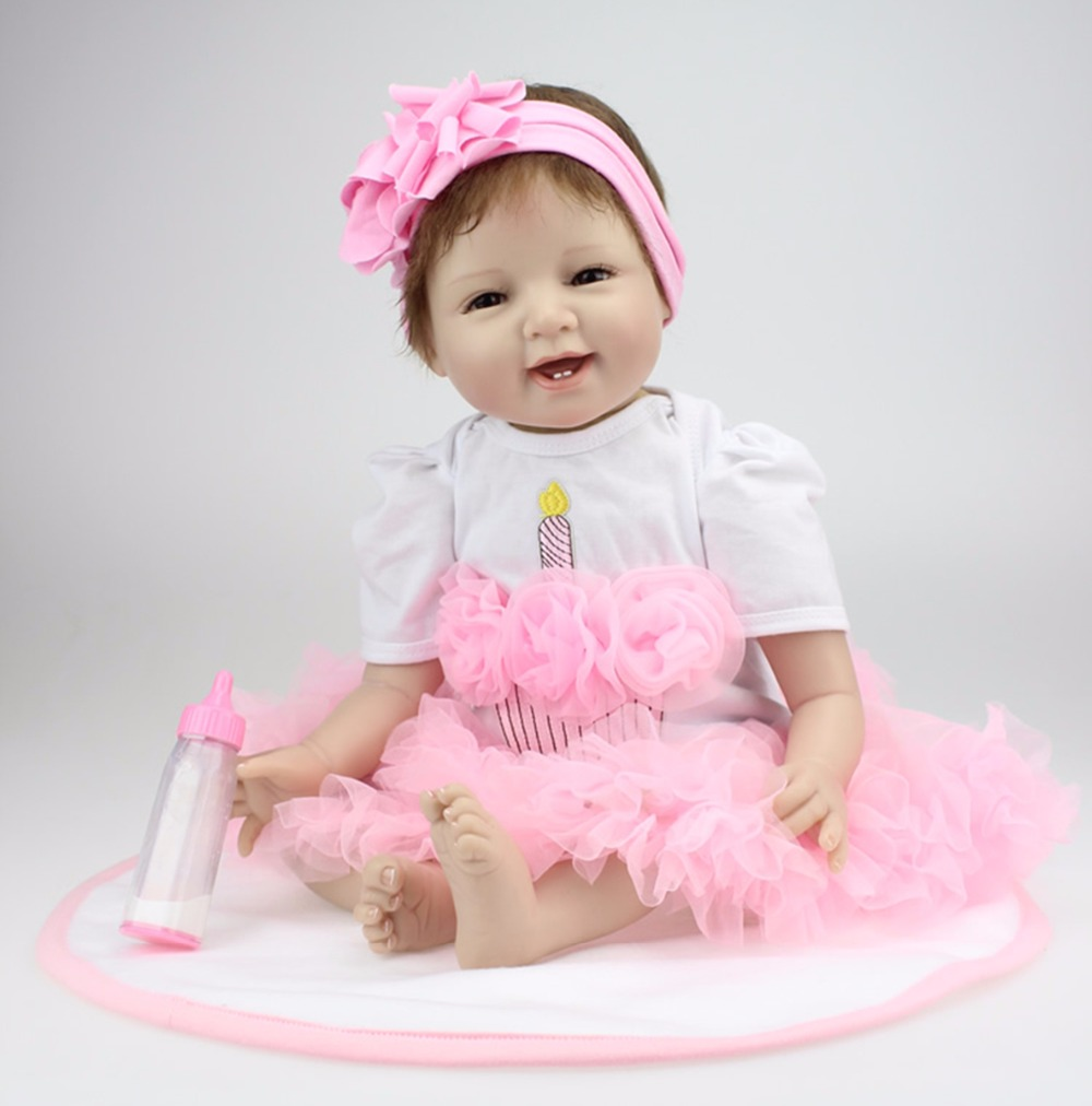 Pursue 22/55 cm Beautiful Pink Dress Silicone Reborn Babies Girl Doll Alive for Children Birthday Xmas Gift Bedtime Play Toy action figure beautiful girl model toy native ghost month bride doll birthday gift for children kids 18cm
