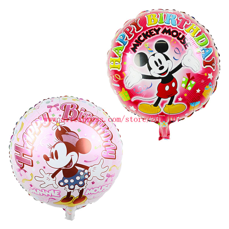 Lucky 30pcs/lot 18 inch Mickey Mouse Inflatable Foil Balloons Minnie Mouse Birthday Party Decorations Kids Toys Helium Balloon