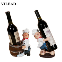 VILEAD French Chef Brother Figurines Chef Miniatures Resin Wine Rocks Wine Holder Home Decor Office Decoration New Year Gift french wine