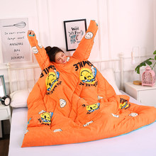 Personality Cartoon Creative Lazy Washed Cotton Quilt Winter Thick Silk Wadding Comforter Bedding Quilt blanket for Kids Adults(China)
