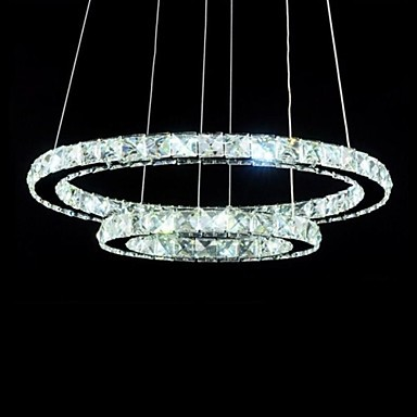 50CM Luxury Modern Crystal LED Pendant Light Lamp with Two Rings,Lustres De Cristal Sala Teto hot selling perforated lustres de teto european luxury double helix stair pendant lights 100% crystal guarantee