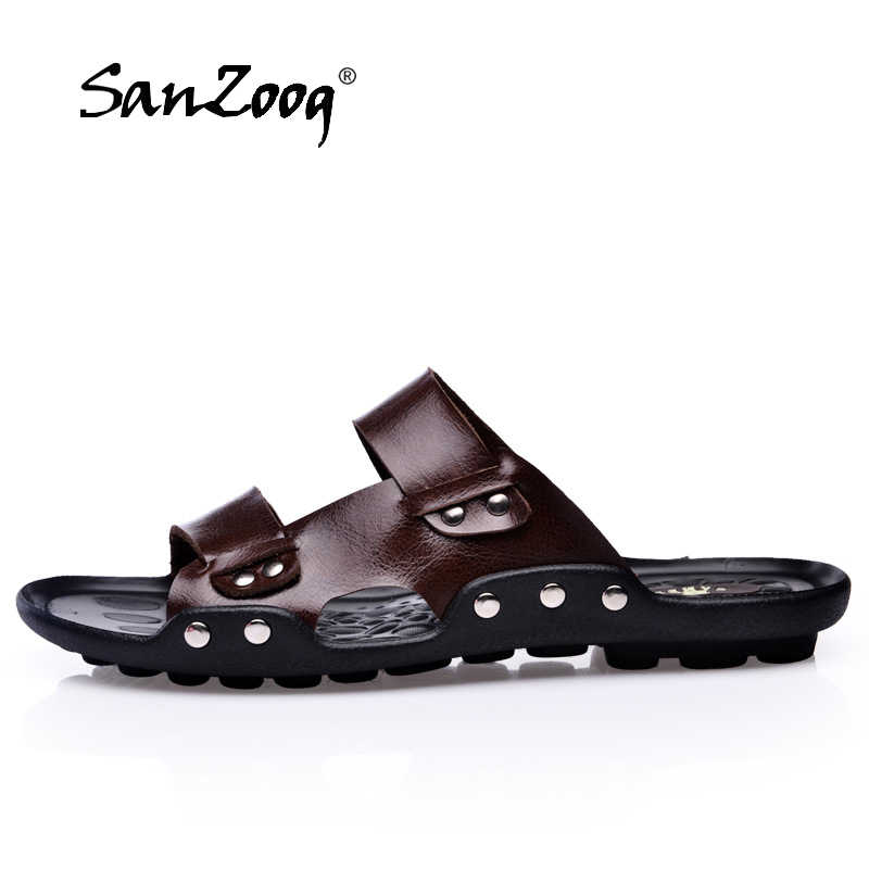 eb8481d5a 2019 Summer Men Slippers Genuine Leather Fashion Cross-tied Leather Slides  Men Comfortable Soft Anti