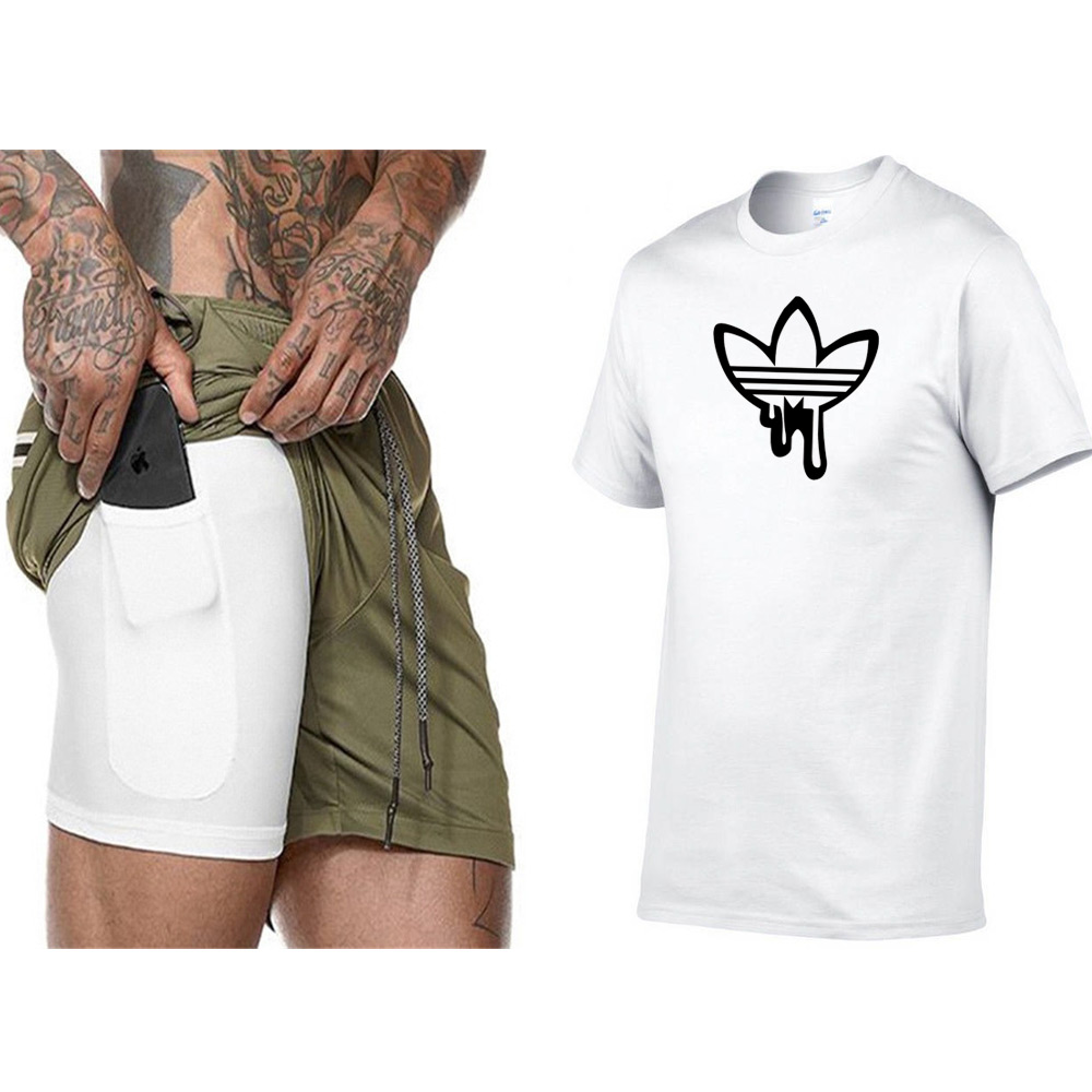New High Quality Brand Men T-Shirt Suit 2 Piece Casual Short Sleeve O-Neck Fashion Printed Cotton T Shirt And Fitness Shorts Men