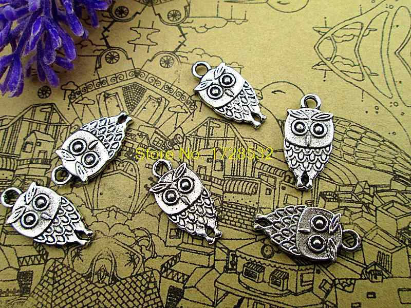 20 pz Mini Gufo Charms-Antique silver Bird Perline e Pendenti di Fascini 9x18mm