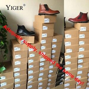 Image 5 - YIGER ใหม่ผู้ชายเชลซีรองเท้าบู๊ทข้อเท้าขนาดใหญ่สีดำ/น้ำตาล/ไวน์แดงสไตล์อังกฤษชายรองเท้าหนังนุ่มจัดส่งฟรี 0001