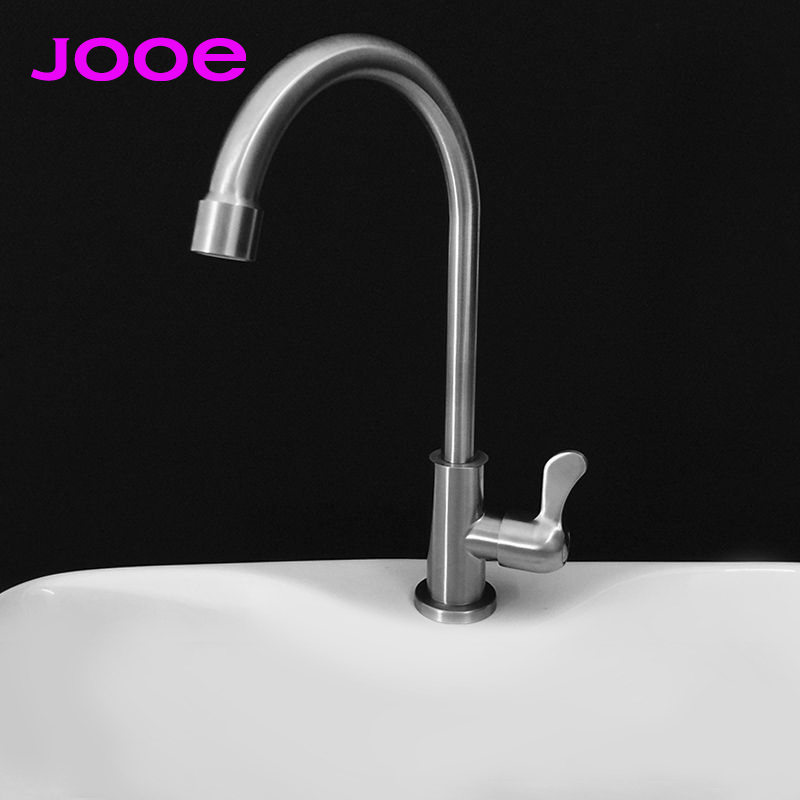 ФОТО jooe Chrome kitchen faucet Stainless steel single cold water tap 360 degree rotate kitchen tap torneira cozinha robinet cuisine
