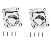 2 Pcs 304 Stainless Steel Flush Mount Pull Ring Hatch Latch Lift Handle Marine Boat Hatche/Cupboard/Cabin Door 2.2 x 2.6 Inch