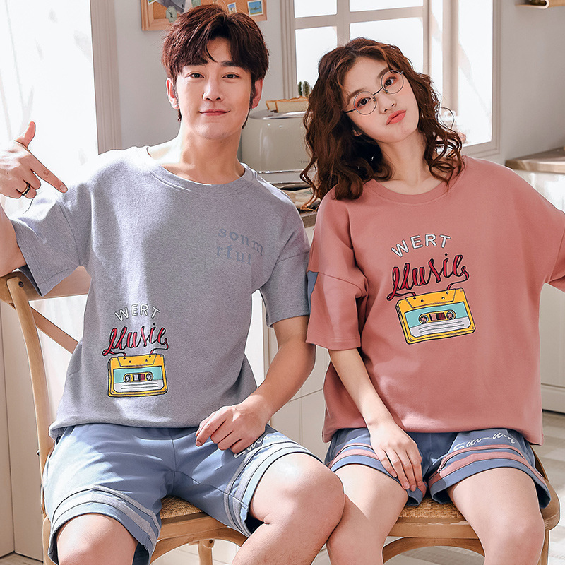 Summer Couple's Home Suit Pajamas For Couples Cotton Pajamas For Men Round Collar Loose Micro Elastic Force Lounge Wear For Men