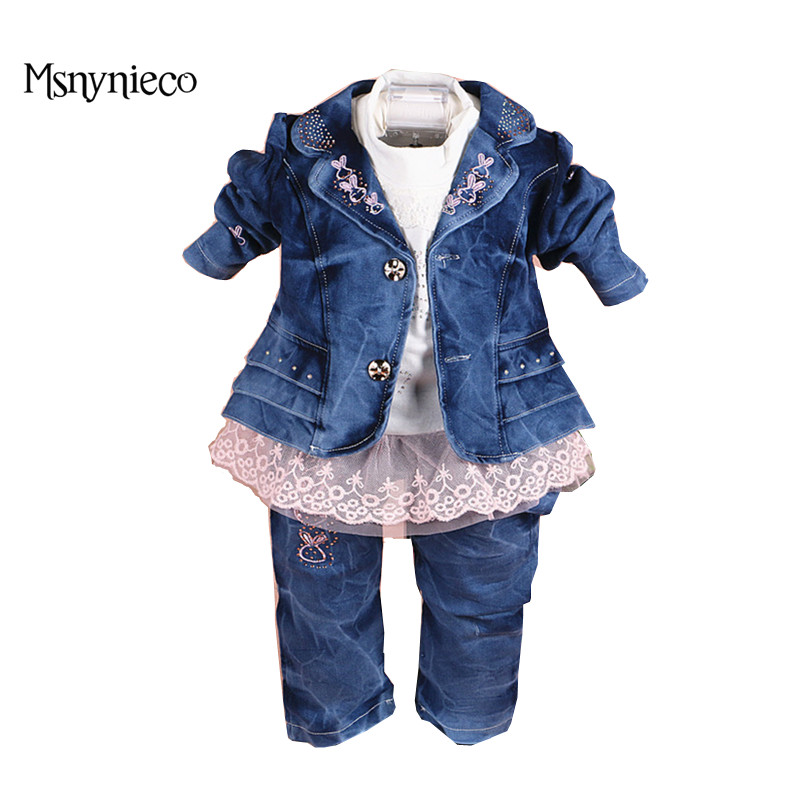 Baby Girls Clothes Suit Denim Jacket+T-shirt+Jeans Kids 3pcs Suits Baby Girls Clothes 2017 Toddler Baby Outfits Clothing Sets fashion autumn girl clothing sets denim outfits girls clothes sets jeans jackets shirt patchwork dress 2pcs suits with necklace