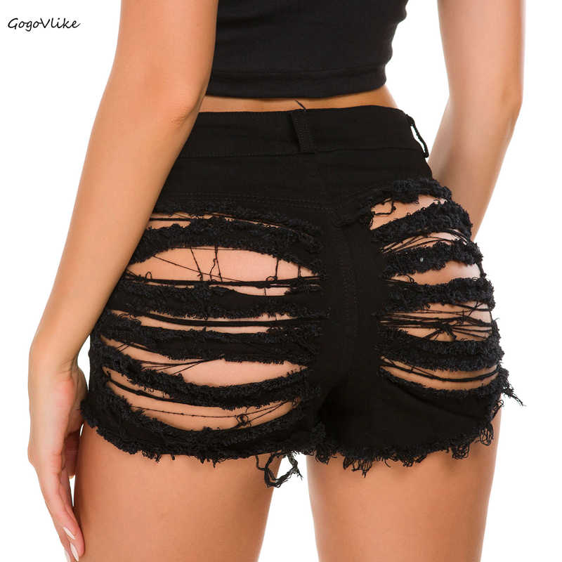 Hollow Out Sexy Cutout Pole Dance Women Bar Shorts Summer Jeans Denim High Waist Clubwear Ripped Shorts With Holes DK079S40