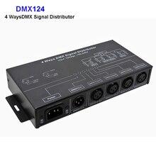 DMX124 DMX512 amplifier Splitter DMX signal repeater 4CH 4 output ports DMX signal distributor; AC100V-240V input;Free shipping free shipping 8 routes dmx signal driver amplifier dmx splitter 8 output distributor 3pin dmx sockets dmx512 distribute devices
