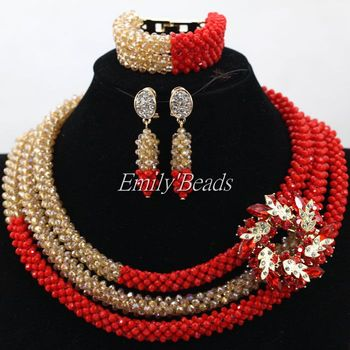 2016 Latest African Party Costume Jewellery Set Crystal Nigerian Wedding African Beads Bridal Necklace Set Free Shipping ALJ302