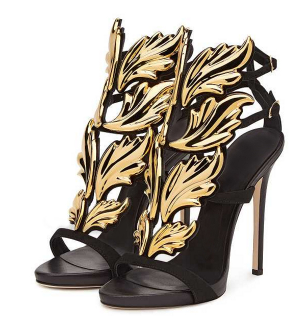 5526a52afed3 Hot sell women high heel sandals gold leaf flame gladiator sandal shoes  party dress shoe woman patent leather leaf sandals