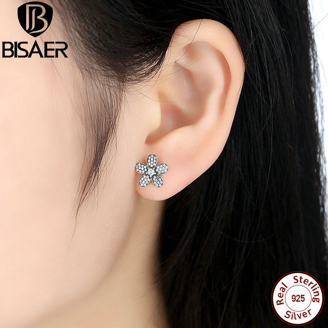 79710020b Original 925 Sterling Silver Dazzling Daisy Flower Stud Earrings Women  Fashion Jewelry WEUS434